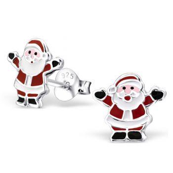 Kinderoorbellen zilveren kerstman |sterling zilver 925