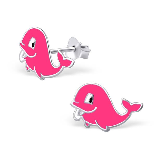 Kinderoorbellen zilver walvis roze