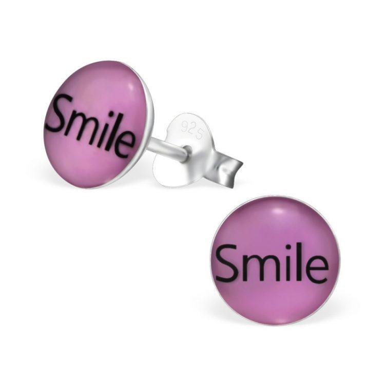 Kinderoorbellen zilver rond met tekst: SMILE
