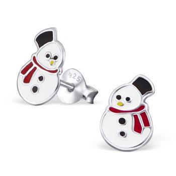 Kinderoorbellen zilver sneeuwpop rode sjaal