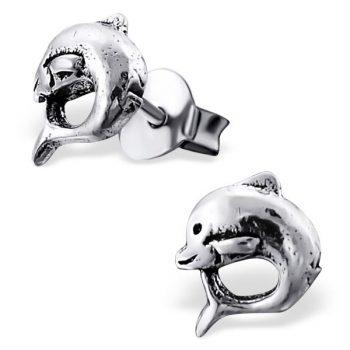 Oorbellen zilveren dolfijn | geoxideerd