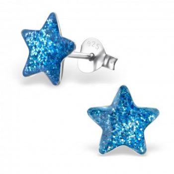 Zilveren oorbellen ster blauw met glitter