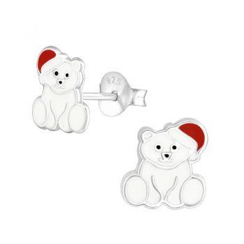 Kinderoorbellen zilver witte ijsberen met muts