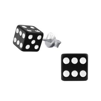 Zilveren oorbellen met dobbelsteen zwart-wit