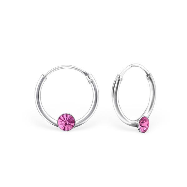 Oorringen met roze steentje | sterling zilver