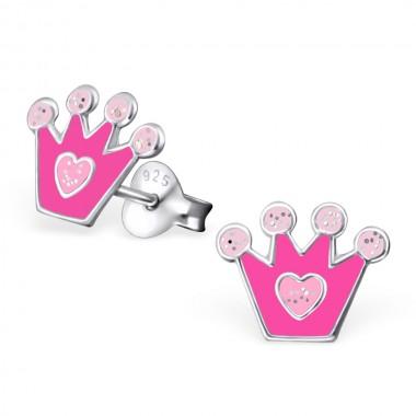 Kinderoorbellen kroontje roze