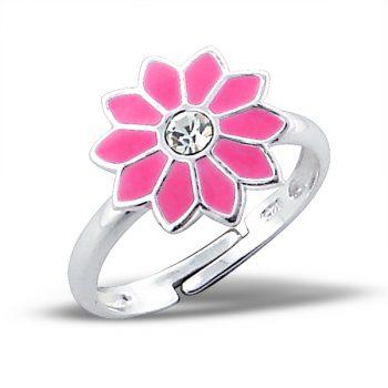 Zilveren verstelbare kinderring roze bloem met steentje