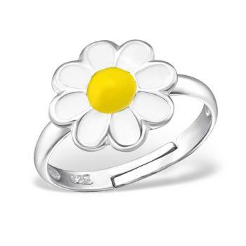 Zilveren verstelbare kinderring witte bloem met geel hart