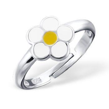 Zilveren kinderring met madeliefje wit geel