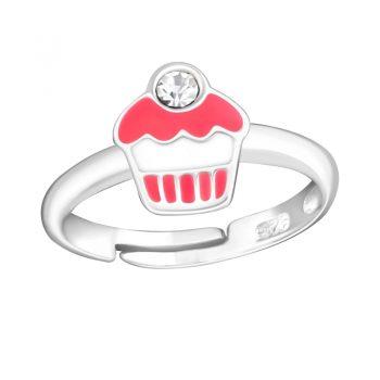 Zilveren kinderring met cupcake | past altijd