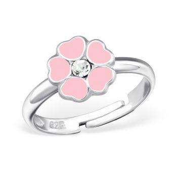 Zilveren verstelbare kinderring licht roze bloem met steentje