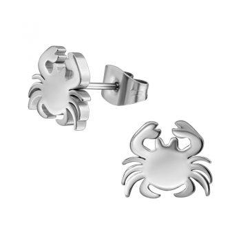 RVS oorbellen -zilverkleurige krab