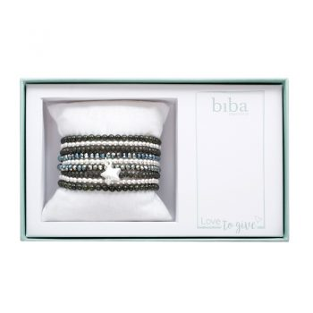Biba giftbox kralenarmbanden grijs tinten - zilverkleurig