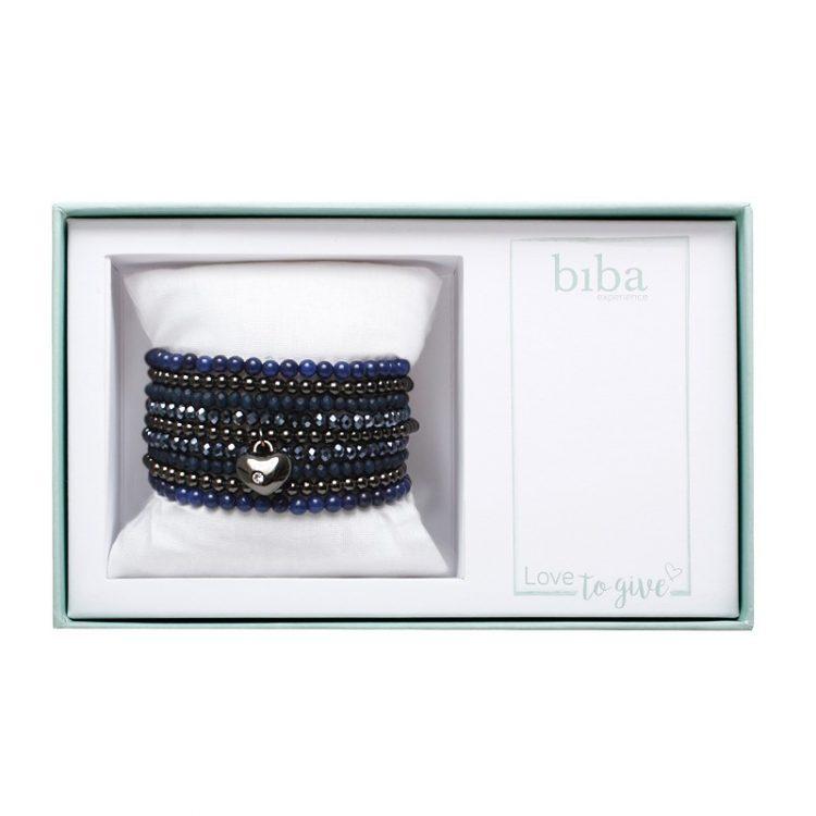 Biba giftbox kralenarmbanden blauw-gun-zwart