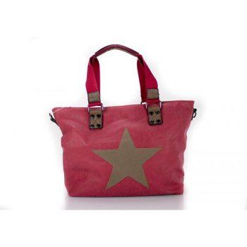 Tas met ster kunstlederen shopper rood