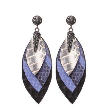 Biba oorbellen lang blauw-zwart