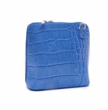 Lederen voorgevormde schoudertas blauw