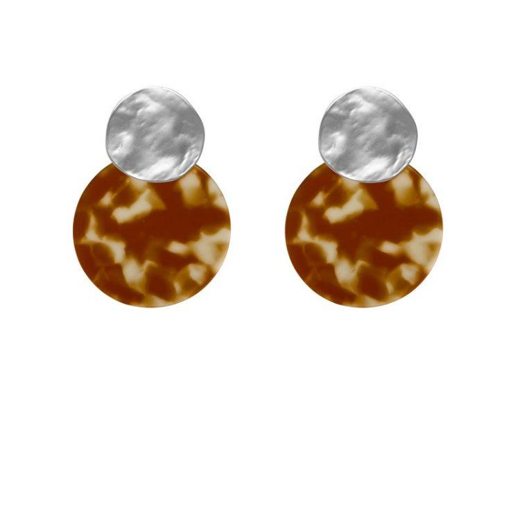 Biba leopard oorbellen bruin  zilverkleurig