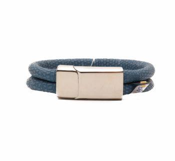 Handgemaakte leren armband twee banden blauw