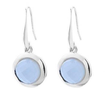 Viva fashion oorbellen licht blauwe steen facet geslepen