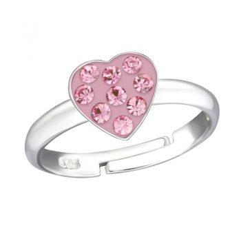 Zilveren verstelbare kinderring hartje-licht roze