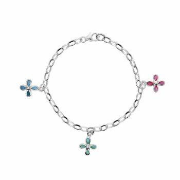 Kinderarmbandje met pastel kleurige bloemen - zilver