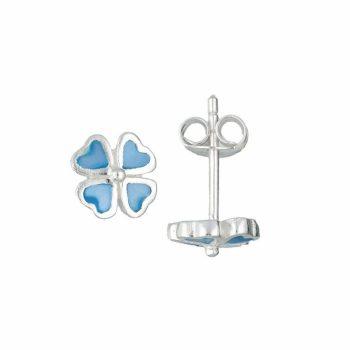 Zilveren kinderoorbllen blauwe klaver vier
