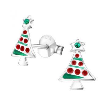 Zilveren kerstboom oorbellen