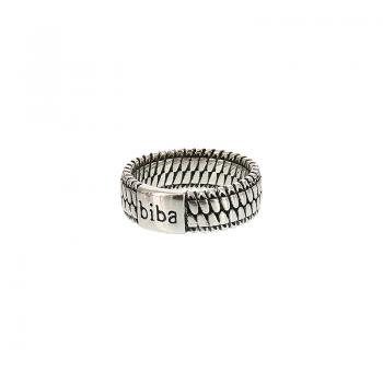 Biba ring metaal zilverkleurig plat 58 = 18,5