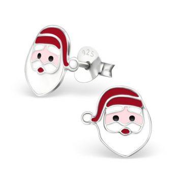 Kinderoorbellen zilver kerstman hoofd