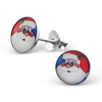Oorbellen zilver rond met kerstman