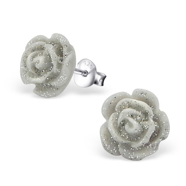 Zilveren oorbellen roos grijs met een subtiel glittertje
