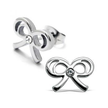 RVS oorbellen -zilverkleurige strik met steentje