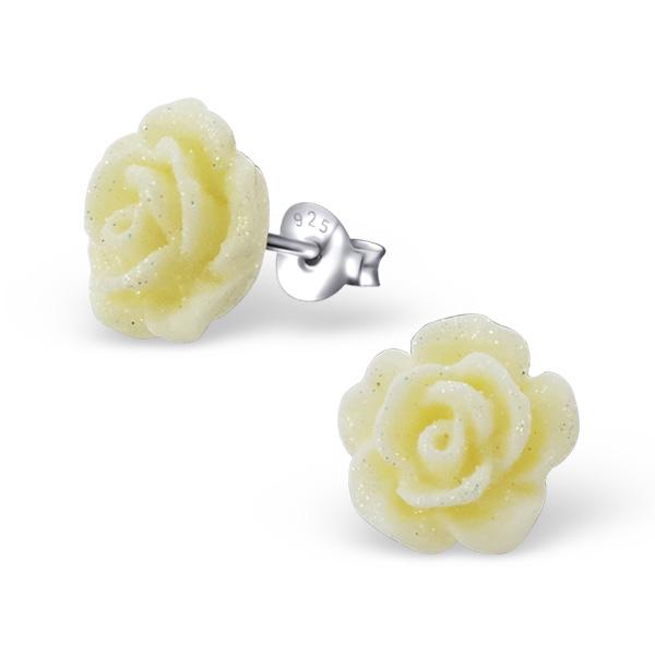 Zilveren oorbellen creme roos met glitter