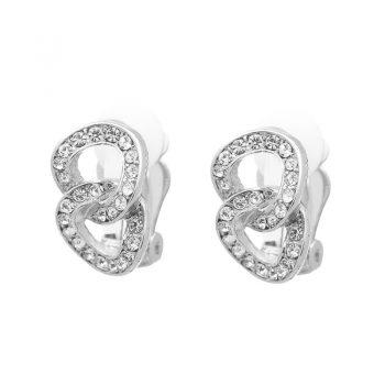 Viva classic oorclips 8 vorm zilverkleurig met strasssteentjes