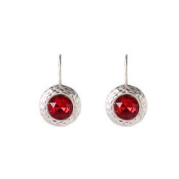 Viva fashion oorhanger rode steen zilverkleurige afwerking