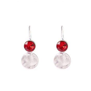 Viva fashion oorbellen rode glazen steen
