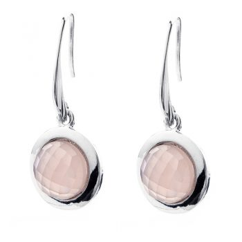 Viva fashion oorbellen roze steen facet geslepen