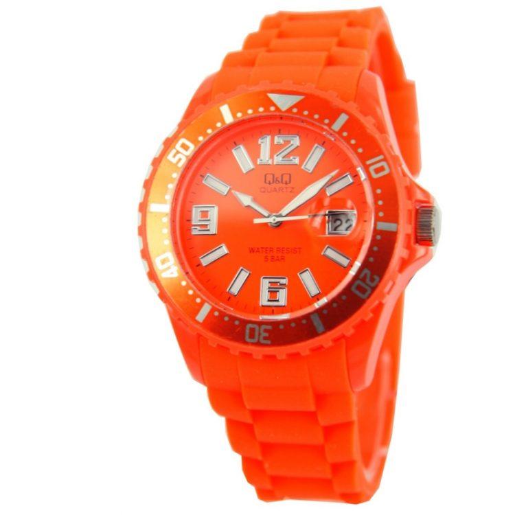 Q&Q quartz sportief oranje unisex horloge| siliconen band
