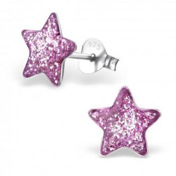 Oorbellen zilver ster paars met glitter