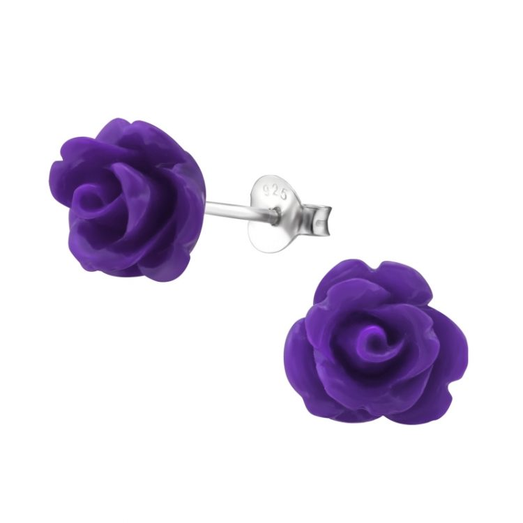 Zilveren oorbellen paarse roos