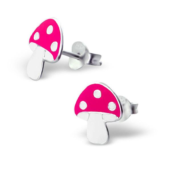 Zilveren kinderoorbellen roze paddestoel met witte stippen
