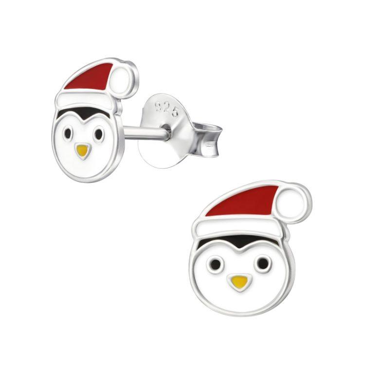 Oorbellen zilver pinguin met muts rood   Kerst oorbellen