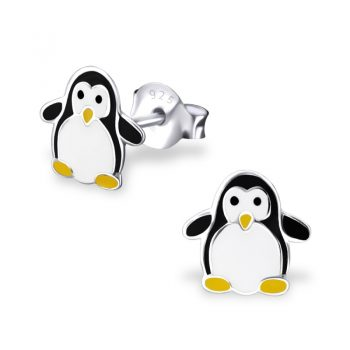 Oorbellen zilver pinguin zwart wit
