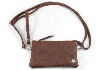 Clutch-tas-portemonnee in bruin met sterretje