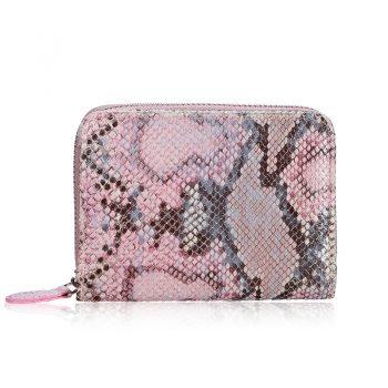 Portemonnee met slangen print roze