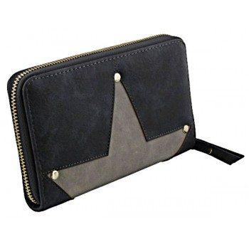 Portemonnee opgestikte ster-blauw-grijs