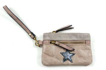 Portemonnee zakformaat taupe met polsbandje en ster