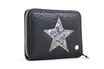 Kleine portemonnee zwart met ster print
