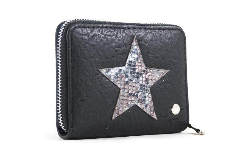 264fa68d243 Kleine portemonnee zwart met ster print - BlingDings